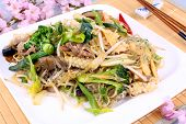 Asian Glass Noodles With Rice, Meat And Vegetables
