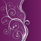 Beautiful purple and silver swirls border. This image is a vector illustration.