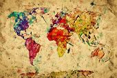 Vintage world map. Colorful paint, watercolor, retro style expression on grunge, old paper. High res