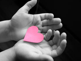 stock photo of hand heart  - small heart in childs hands  - JPG
