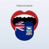 Falkland Islands language. Abstract human tongue.