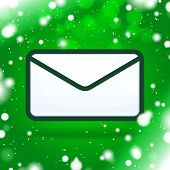 Christmas Mail icon with green shining backgroun