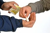 stock photo of drug dealer  - A drug dealer sells drugs to his client - JPG