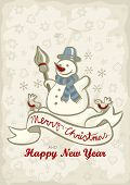 happy snowman with two little birds winter holidays Christmas New Year card with wishes in English