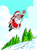 Cartoon Santa flying like superman