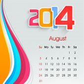 New Year 2014 August month calendar.