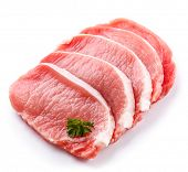 Fresh raw pork chops on white background
