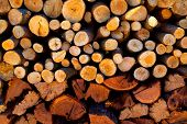 stock photo of firewood  - firewood stacked fire wood with different sizes - JPG