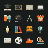 Education icons with black background