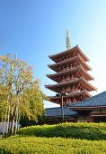 Five-storey Pagoda At Sensoji Temple In Tokyo, Japan.