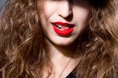Closeup Face Of A Beautiful Girl With Red Lips