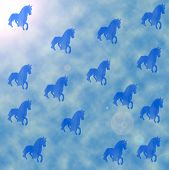 Blue Horses And The Sky