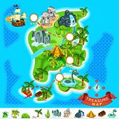 stock photo of monster symbol  - Various Exotic Location from Pirate Treasure Map