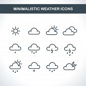 Minimalistic Weather icons. Vector