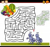 stock photo of maze  - Cartoon Illustration of Education Maze or Labyrinth Game for Preschool Children with Funny Ants and Fruits - JPG