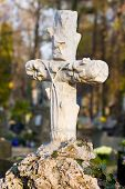 stock photo of crucifiction  - Cross With Crucified Jesus Christ At Cemetery - JPG