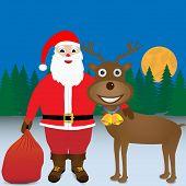 Santa and reindeer.