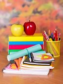 School supplies on the background of autumn leaves