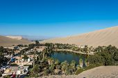 foto of ica  - Huacachina lagoon in the peruvian coast at Ica Peru - JPG