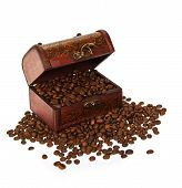 Chest with coffee grains