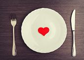 stock photo of knife  - table setting for Valentine - JPG