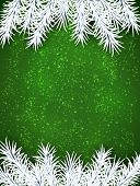 Green winter abstract background. Christmas illustration with snowflakes and sparkles. White fir nee