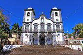 The magnificent white church of Nossa-Senior-du-Monty on the Portuguese island of Madeira.