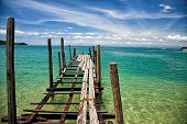 Simple traditional wooden pier. Vietnam