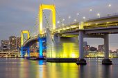 Rainbow bridge from Odaiba Tokyo at dusk in Japan