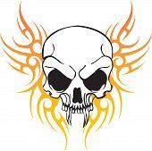 Flying Tribal Art Skull