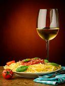 Italian Pasta And White Wine