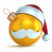 Christmas ball ornament Santa Claus hat New Year bauble gold yellow decoration