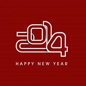 Happy New Year 2014 celebration flyer, banner, poster or invitation with stylish text on maroon background.
