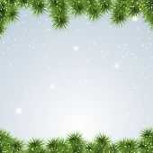 Banner Christmas background. Pine tree. Vector Illustration.