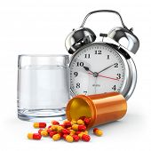Medication time. Pills, water glass and alarm clock. 3d