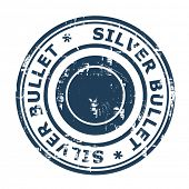Silver bullet business stamp isolated on a white background.