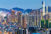 stock photo of overpopulation  - Hong Kong city - JPG
