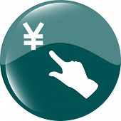Yen Currency Symbol And People Hand Web Button Icon