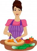Illustration of a Girl Chopping Vegetables