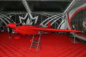 PUTRAJAYA, MALAYSIA - MAY 17, 2014: The Edge 540 V3 plane of Pete Mc Leod of Canada parks at the hangar before the race during the Red Bull Air Race World Championship 2014 in Putrajaya, Malaysia.