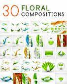 Mega collection of vector green leaf compositions, wave line backgrounds