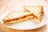 Bread sandwich with cheese tomato. Healthy vegetarian snacks. fast food.