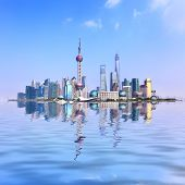 Panoramic view of Shanghai city with reflection