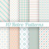 10 Pastel retro different vector seamless patterns (tiling). End