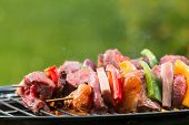 Meat and vegetable skewer on barbecue grill with fire