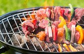 stock photo of kababs  - Meat and vegetable skewer on barbecue grill with fire - JPG