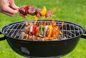 pic of barbecue grill  - Meat and vegetable skewer on barbecue grill with fire - JPG