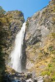 Devil's Punchbowl Waterfall in the Arthur's Pass National Park, New Zealand