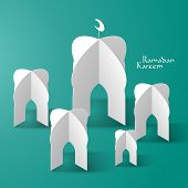 Vector 3D Mosque Paper Sculpture. Translation: Ramadan Kareem - May Generosity Bless You During The Holy Month.