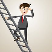 Cartoon Businessman Climb Ladder And Looking For Opportunity